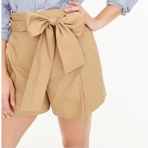 J. Crew Cotton Poplin Tie Waist Shorts